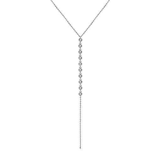 Crush & Fancy Bezel Slider Necklace | 925 Sterling Silver and Dangling Bezel Set German Crystal Pendant | Adjustable 14-15 inches (White Tone - Nellie)