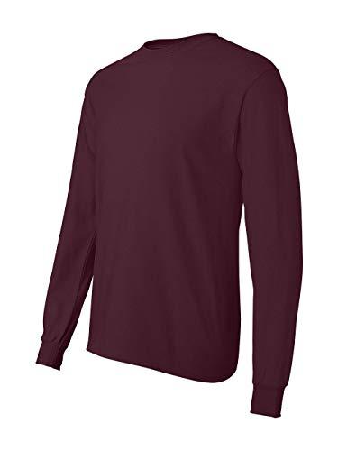 Hanes TAGLESS Men`s Long-Sleeve T-Shirt - Best-Seller,Maroon,X-Large