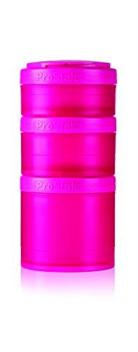 BlenderBottle ProStak Twist n Lock Storage Jars Expansion 3-Pak with Pill Tray, Pink