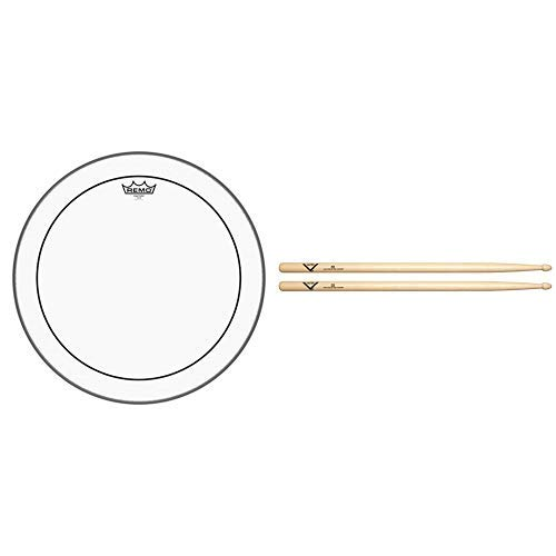 Remo Pinstripe Clear Drumhead, 18'' with Vater 5B Wood Tip Hickory Drum Sticks, Pair by Remo