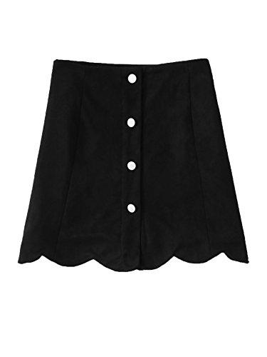 MakeMeChic Women's Casual Faux Suede Button Front A Line Mini Skirt Scallop-Black XL ()