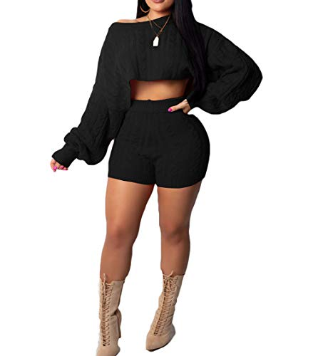 JUNBOON Women's Casual 2 Pieces Outfits Solid Long Sleeve Knitted Sweater Crop Top Bodycon Shorts Tracksuits Set ()