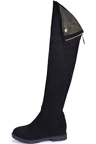 Botas altas de rodilla Mujer Brillante Rhinestones Negro Ante sintética Aumento Invierno Planas Botas altas largas De BIGTREE Negro
