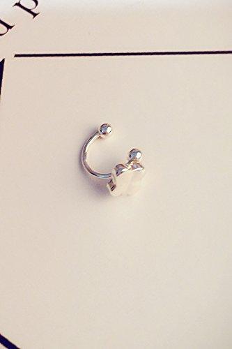 Unique Jewelry Love Five-Pointed Star Moon Ear Clip Earrings Earring Dangler Eardrop Non Pierced u-Shaped Bone Cute (u-Shaped Ear Clip [] Silver Four-Leaf Clover