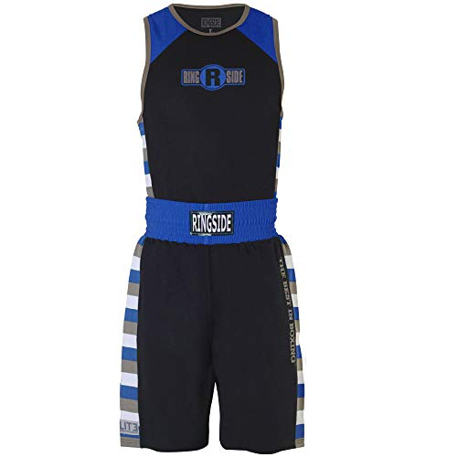 (Ringside Youth Elite #4 Outfit, Black/Royal, Medium)