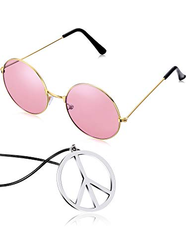 Tatuo Hippie Dressing Accessory Set Hippie Glasses and Peace Sign Necklace (Pink) ()