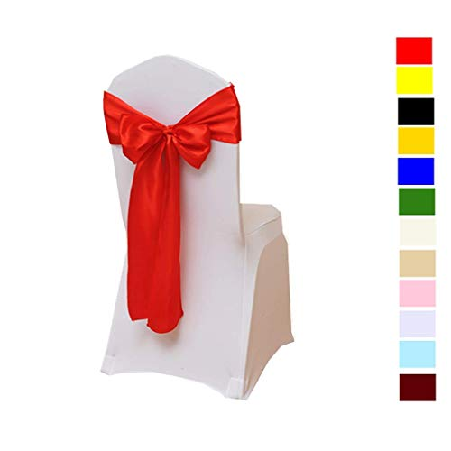 (Fvstar 25pcs Red Satin Chair Sashes Bows Wedding Chair Ribbon Party Chairs Back Tie Bands for Bridal and Events Supplies Baby Shower Trade Show Decorations Without White Covers)