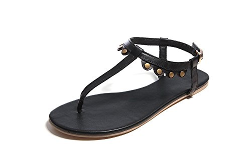 Amoonyfashion Mujeres Cow Leather Solid Hebilla Split Toe Sin Sandalias De Tacón Negro