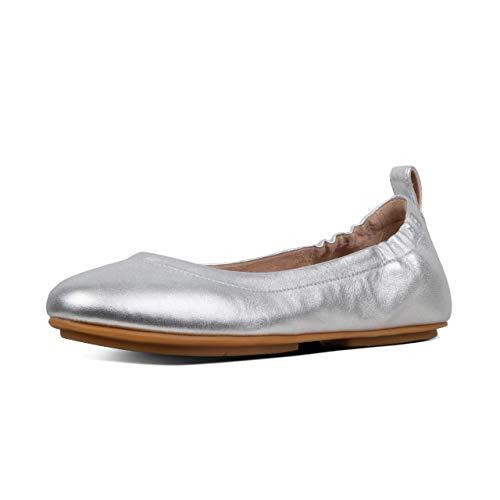 FitFlop Women's Allegro Ballet Flat, Silver, US07.5 M US (Sandals Leather Ballet)