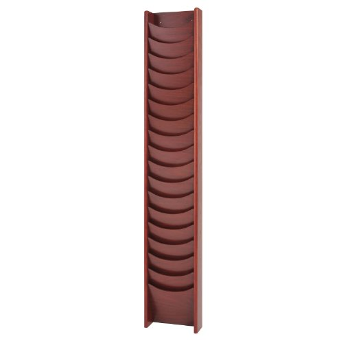 Buddy Products Solid Oak 18-Pocket Display Rack, 66 x 3.75 x 11 Inches, Mahogany (0613-16)
