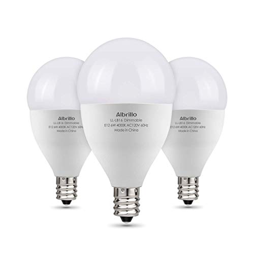 Albrillo E12 LED Bulb Dimmable Light Bulbs, 60 Watt Incandescent Equivalent, Bright White 4000K, 3 Pack