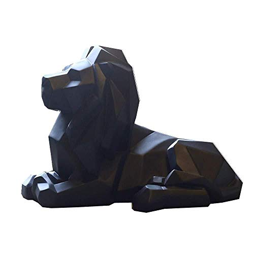 Mbjfuw Resin Abstract Black White Lion Sculpture Statue Crafts Home Desk Decoration Geometric Resin Wild Animal Lion Statue Craft (Color : Black, Size : 35.317.520.5)