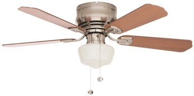MIDDLETON 42 IN. INDOOR CEILING FAN WITH LED SCHOOLHOUSE LIGHT KIT, BRUSHED NICKEL WITH MAPLE/CHERRY BLADES