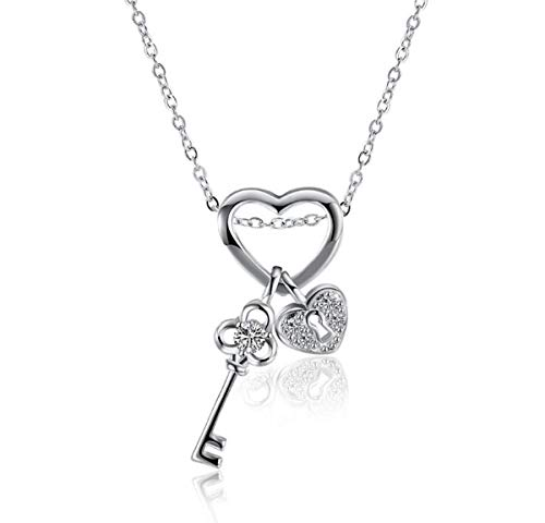 (Onlyfo Diamond Accent Shugo Chara! Key and Heart Lock Pendant Necklace with Jewelry Box,Short Shugo Chara Necklace for Boys,Girls (Silver))