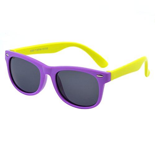 YANQIUYU TPEE Rubber Flexible Kids Toddler Polarized Wayfarer Sunglasses Age 3 -10,UV Protection (Purple Frame/Yellow Temple, - Made Eco Sunglasses Friendly