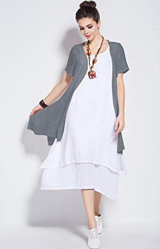 Anysize Linge Doux Et Coton Printemps Robe En Deux Parties, Plus Robe Taille Y96 Gris Et Blanc