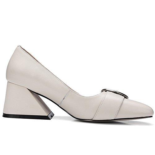 Nine Seven Moda Cuero Puntera Cuadrada Zapatos de Tacón Grueso con Hebilla para Mujer Beige