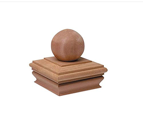 Woodway Flat Top Post Cap With Ball Accent 4x4  - Premium Redwood Finial Post Cap, 4 x 4, Fits Up To 3.5 x 3.5 Inch Post, 1PC ()