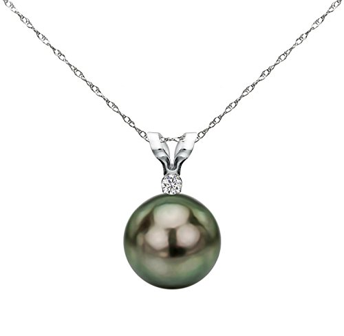 Elegant Pearl Diamond Necklace (14K White Gold Diamond Necklace Chain South Sea Tahitian Cultured Pearl Pendant Jewelry AAA+ 9-9.5mm)