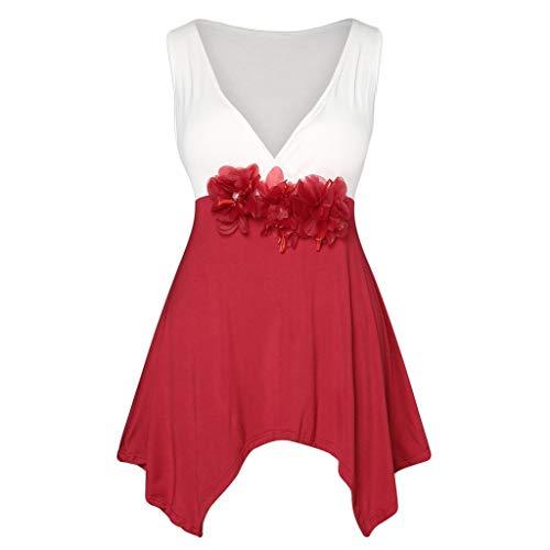 FarJing Women Blouse, Plus Size Sleeveless V-Neck Lace Flower Hem Tank Top Shirt (L,Red -