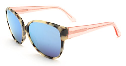 Atalntis Women's Cateye Sunglasses with Handmade Overized Frames (White Tortoise Shell pattern and Crystal Pink/Peach Temples with Blue - Trend Sunglass