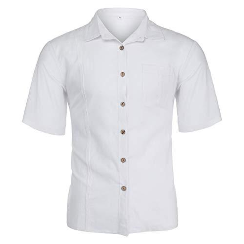Yutao Mens Summer Henley Polo Shirts 3/4 Sleeve Hippie Boho Linen Button up Shirt White ()