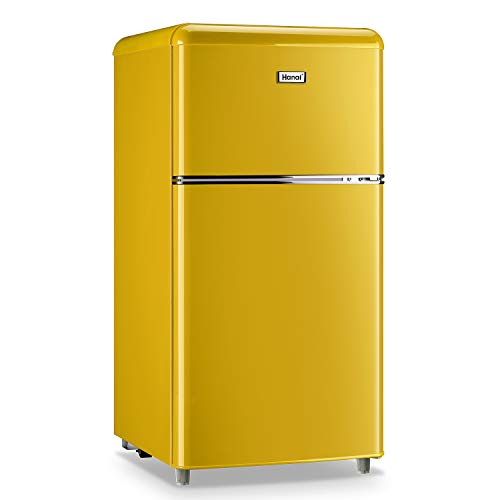 WANAI Compact Refrigerator,3.2 Cu.Ft Classic Retro Refrigerator 2 Door Mini Refrigerator,Adjustable Remove Glass Shelves Refrigerator Suitable for Dorm Garage and Office