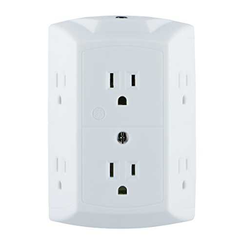 GE 6-Outlet Wall Tap, Reset Button, Circuit Breaker, Power Outlet Extender, Adapter Spaced Outlets, 3 Prong Plug, Grounded, UL Listed, White, - Screw Breaker