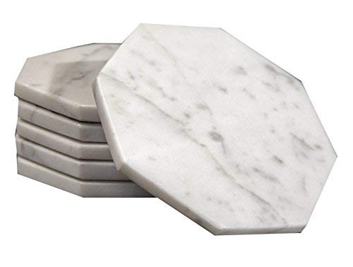 (Set of 6 - White Marble Stone Coasters Polished Coasters 3.5 Inches (9 cm) in Diameter Protection from Drink Rings -CraftsOfEgypt)