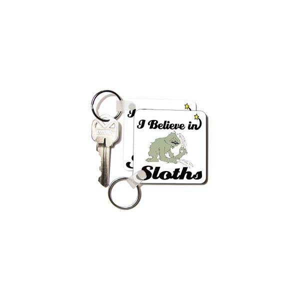 3Drose I Believe In Sloths - Key Chains, 2.25 X 4.5 Inches, Set Of 2 (Kc_105547_1) -