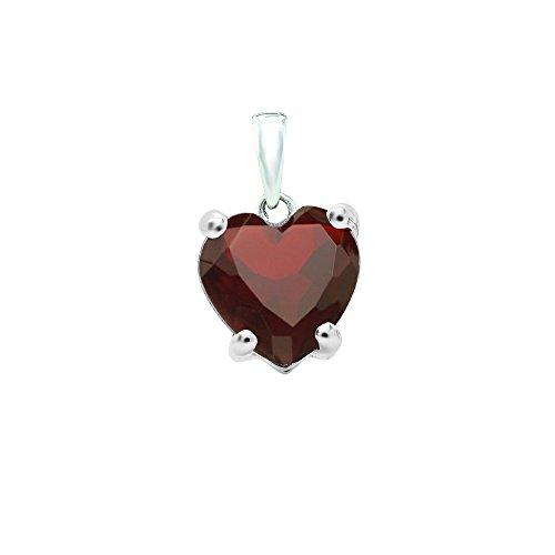 DazzlingRock Collection 14K White Gold 6 MM Heart Cut Garnet Ladies Heart Shaped Pendant Garnet Heart Shaped Pendant