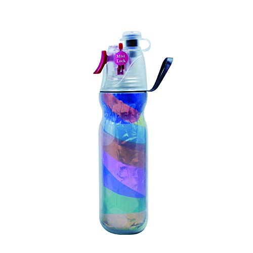 ASD Spray Mist Squeeze Bottle, Mist Water Bottle with Unique Mist Lock Design,Unique Antibacterial Cover Design,Insulated Drinking & Misting Sport Water Bottle with Mist SprayerBPA Free (Gold-20 oz)