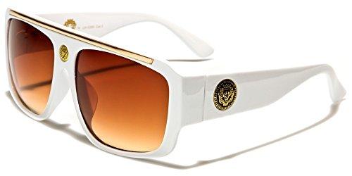 White & Gold Kleo Flat Top Hip Hop Rapper Retro Aviator Sunglasses w/ Brown Lenses -