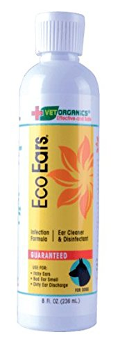 EcoEars Dog Ear Infection Formula. For Itch, Head Shaking, Discharge & Smell. Natural Multi Symptom Ear Cleaner for Dogs with Ear Infections Due to Mites, Yeast & Bacteria. 100% Guaranteed