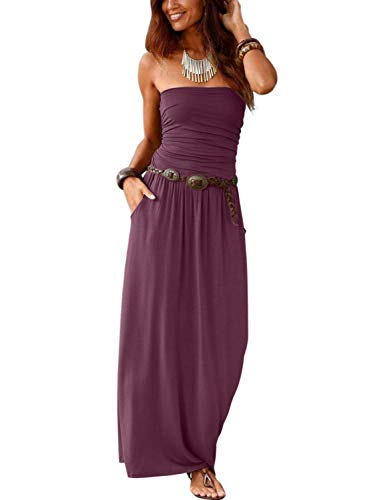 (Alaster Queen Women's Strapless Bandeau Summer Long Floral Dress Off Shoulder Beach Maxi Dress with Pockets (Purple, XLarge(US16-18)))