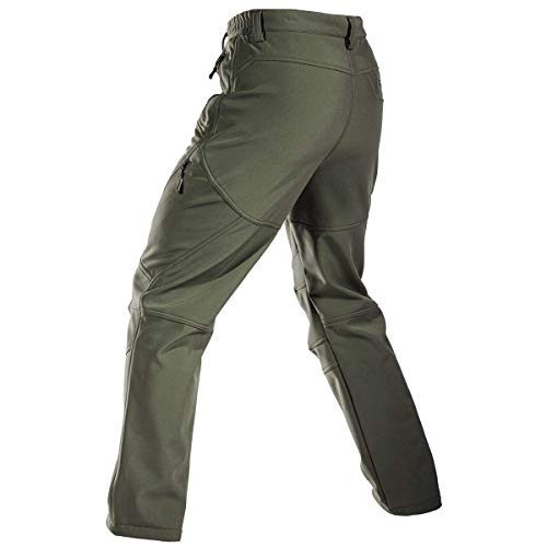 FREE SOLDIER Men s Fleece Lined Water Repellent Softshell Snow Ski Pants  with Zipper Pockets bcd33e59d