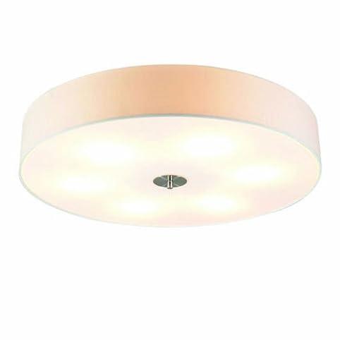 QAZQA Modern Deckenleuchte Deckenlampe Lampe Leuchte Drum Mit Schirm 70 Rund Weiss