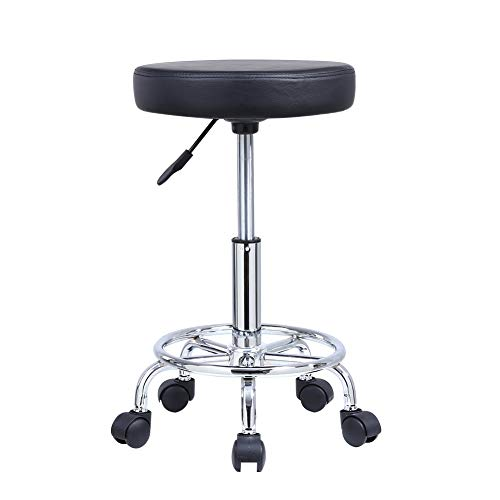 KKTONER PU Leather Round Rolling Stool with Foot Rest Swivel Height Adjustment Medical Spa Drafting Salon Tattoo Work Office Massage Stools Task Chair Black