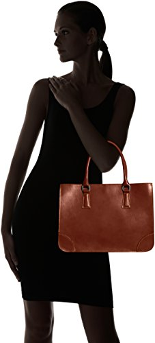 cuir CTM 100 Made et italien véritable Marrone de élégante classique style Italy in femme 36x26x18cm sac Marron de 71crF7vO
