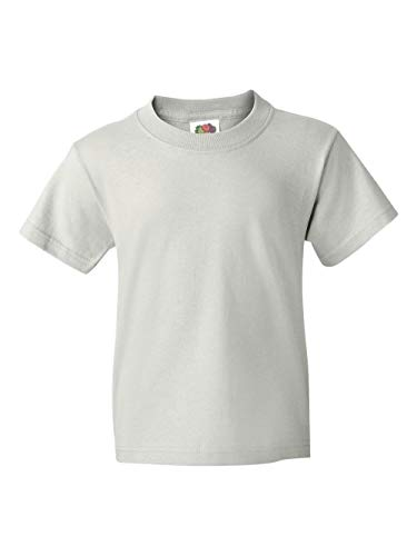 Fruit of the Loom Heavyweight Youth Short Sleeve T-Shirt - WHITE - (Fruit Of The Loom Heavyweight T-shirt)
