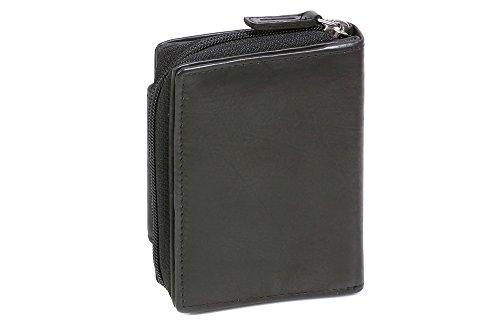 Portafoglio Donna con tasca laterale a zip LEAS, Vera Pelle, nero - ''LEAS Zipper-Collection''