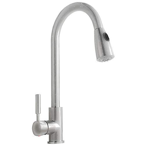 Comllen Single Handle High Arc Stainless steel Pull out Kitchen Faucet, Single Level Stainless Steel Kitchen Sink Faucets with Pull Down Sprayer Without Deck Plate