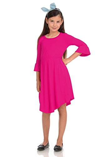 Honey Vanilla Girls' Fit and Flare Midi Dress with Bell Sleeve Medium 7-8 Years Hot Pink