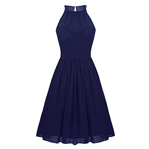 Freebily Vestidos Elegante para Boda Vestidos Corto de Gasa de Fiesta para Mujeres, Cuello Colgante Vestidos Dama de Honor Azul Marino