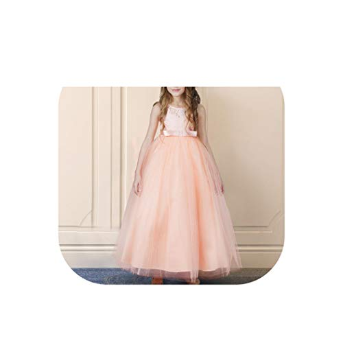 Girls Dress for Exquisite Pink Long Lace Tulle Wedding Dresses Teens Kids Graduation Costume Girl Childrens Clothing,Pink 2,8