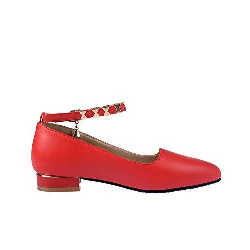 VogueZone009 Damen Weiches Material Niedriger Absatz Schnalle Spitz Zehe Pumps Schuhe Rot
