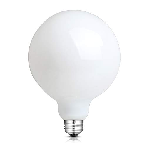 (CRLight 12W Dimmable Opal White LED Globe Edison Bulb 100W Equivalent 1000LM, 2700K Warm White E26 Medium Base, Antique G40/G125 Large Milky Pearl Glass LED Filament Light Bulbs,Smooth Dimming Version)