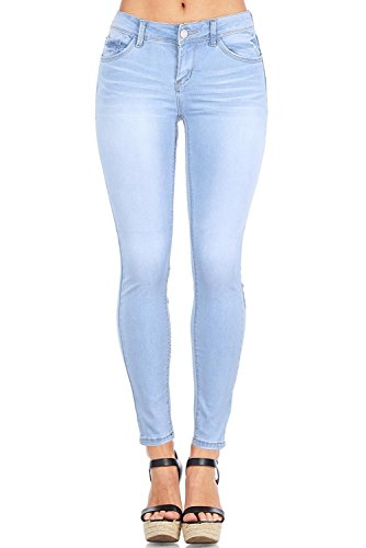 Wax Women's Juniors Timeless Low Rise Stretchy Skinny Jeans (3, Light Denim) (For Women Skinny Wash Jeans Light)