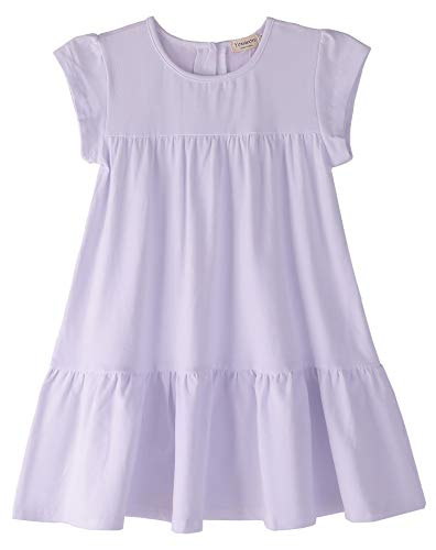 (Youwon Toddler Girls Dress Short Sleeve Solid Color Coverup A-Line Tiered Swing Dress 2-6 7-16 White)