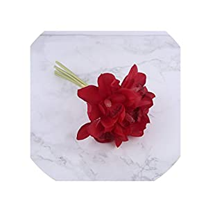 crystal004 White Orchid Artificial Flowers Real Touch Cymbidium Flower Bridal Hand Bouquet Wedding Flowers Decoration for Table Arrangement,Red 7